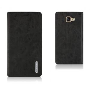 Глянцевый чехол флип подставка на присоске с отделением для карт для Samsung Galaxy A7 (2016) Черный