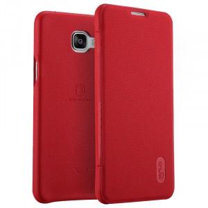 Чехол флип подставка с отделением для карты на силиконовой основе с текстурным покрытием Кожа для Samsung Galaxy A7 (2016) Красный
