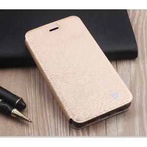 Текстурный чехол флип подставка на силиконовой основе для Samsung Galaxy A7 (2016) Бежевый