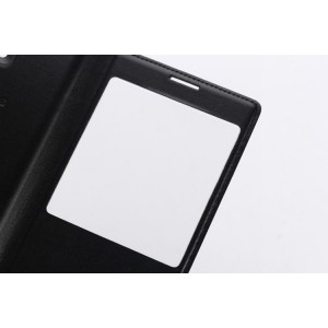 Чехол флип подставка на пластиковой основе с окном вызова для Samsung Galaxy A7 (2016) Черный