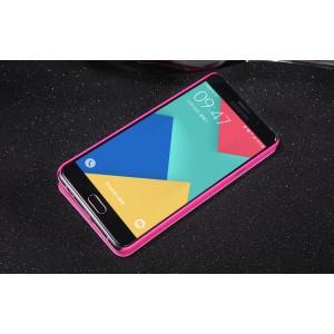 Чехол флип на пластиковой нескользящей премиум основе с окном вызова для Samsung Galaxy A5 (2016) Розовый