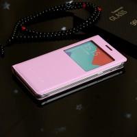 Чехол флип подставка на пластиковой транспарентной основе с окном вызова для Samsung Galaxy A5 (2016) Розовый