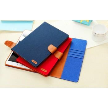 Чехол книжка подставка на силиконовой основе с отделениями для карт, магнитной защелкой и тканевым покрытием для Samsung Galaxy Tab A 8