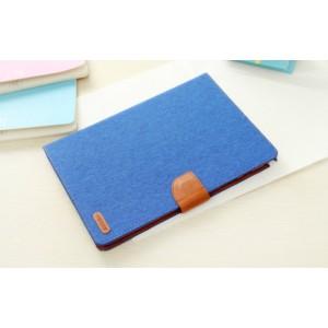 Чехол книжка подставка на силиконовой основе с отделениями для карт, магнитной защелкой и тканевым покрытием для Samsung Galaxy Tab A 8 Голубой