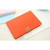 Чехол книжка подставка на силиконовой основе с отделениями для карт, магнитной защелкой и тканевым покрытием для Samsung Galaxy Tab A 8 Оранжевый