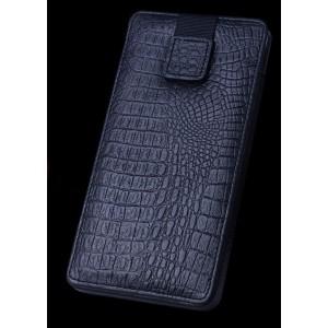 Кожаный мешок (нат кожа крокодила) на липучке для Samsung Galaxy Note 5 Черный