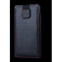Кожаный мешок (нат. кожа) на липучке для Samsung Galaxy Note 5 Черный