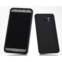 Силиконовый матовый нескользящий премиум софт-тач чехол для Samsung Galaxy Note 5 Черный