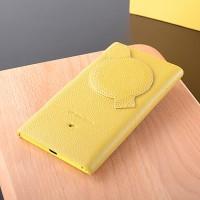 Кожаный чехол накладка для Nokia Lumia 1020 Желтый