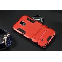 Антиударный гибридный силиконовый чехол с поликарбонатной крышкой и встроенной ножкой-подставкой для Samsung Galaxy Note 4 Красный