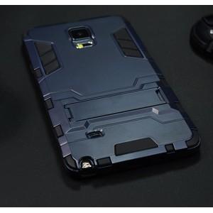 Антиударный гибридный силиконовый чехол с поликарбонатной крышкой и встроенной ножкой-подставкой для Samsung Galaxy Note 4 Синий