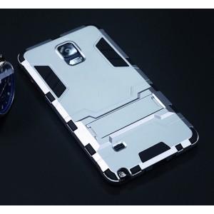 Антиударный гибридный силиконовый чехол с поликарбонатной крышкой и встроенной ножкой-подставкой для Samsung Galaxy Note 4 Белый