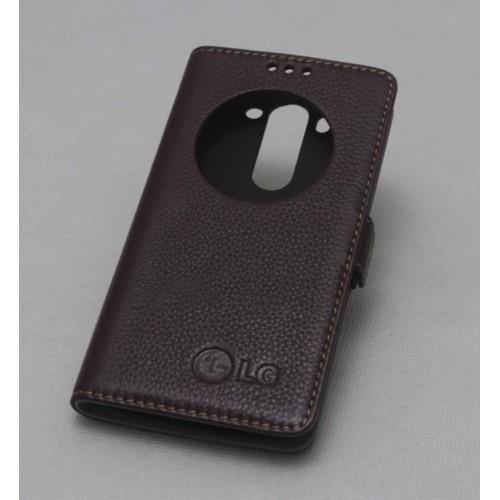 Кожаный чехол флип подставка на пластиковой основе с окном вызова (нат.кожа) для LG G3 (Dual-LTE)