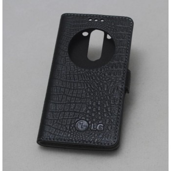 Чехол флип подставка на пластиковой основе с окном вызова (нат. кожа крокодил) для LG G3 (Dual-LTE)