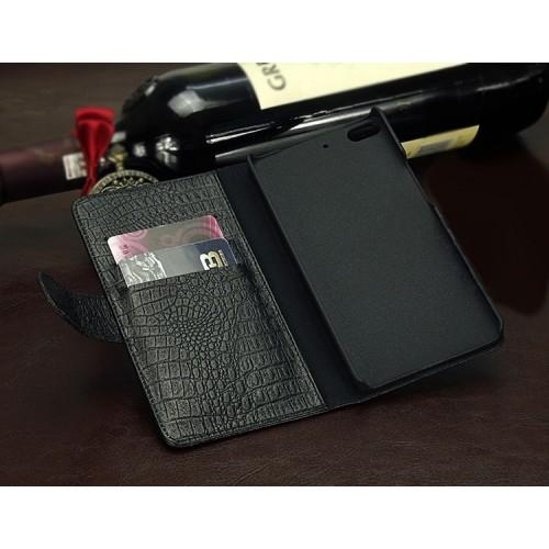 Кожаный чехол портмоне (нат. кожа крокодила) для Fly Universe 5.7 IQ457 Черный