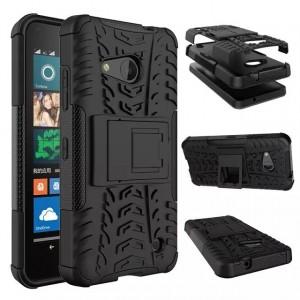 Антиударный гибридный чехол экстрим защита силикон/поликарбонат для Microsoft Lumia 550 Черный