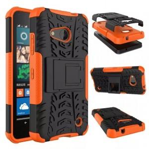 Антиударный гибридный чехол экстрим защита силикон/поликарбонат для Microsoft Lumia 550 Оранжевый