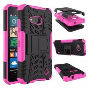 Антиударный гибридный чехол экстрим защита силикон/поликарбонат для Microsoft Lumia 550 Пурпурный