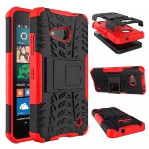 Антиударный гибридный чехол экстрим защита силикон/поликарбонат для Microsoft Lumia 550 Красный