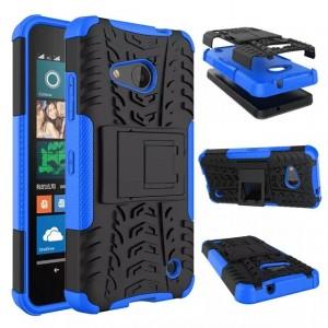 Антиударный гибридный чехол экстрим защита силикон/поликарбонат для Microsoft Lumia 550 Синий