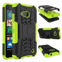 Антиударный гибридный чехол экстрим защита силикон/поликарбонат для Microsoft Lumia 550 Зеленый