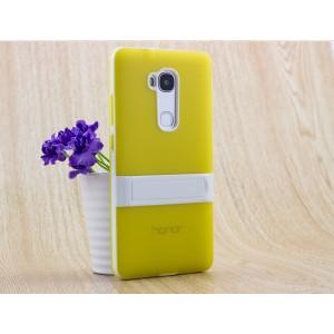 Двухкомпонентный силиконовый чехол с пластиковым бампером-подставкой для Huawei Honor 5X Желтый