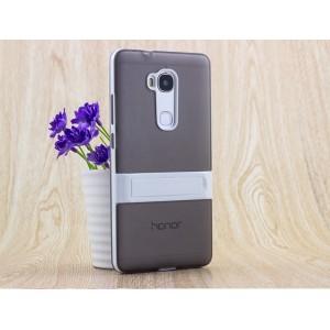 Двухкомпонентный силиконовый чехол с пластиковым бампером-подставкой для Huawei Honor 5X Серый