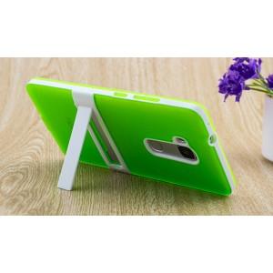 Двухкомпонентный силиконовый чехол с пластиковым бампером-подставкой для Huawei Honor 5X Зеленый