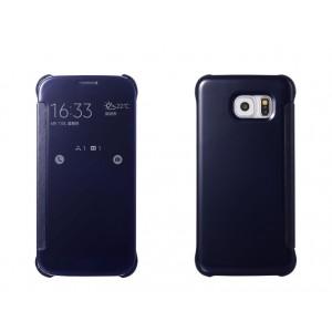 Двухмодульный пластиковый чехол флип с полупрозрачной акриловой крышкой с зеркальным покрытием для Samsung Galaxy S6 Черный