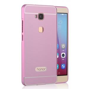 Двухкомпонентный чехол с металлическим бампером и поликарбонатной накладкой для Huawei Honor 5X Розовый