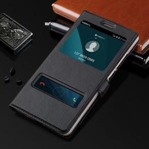 Чехол флип подставка на пластиковой основе с окном вызова и свайпом для Huawei Honor 5X