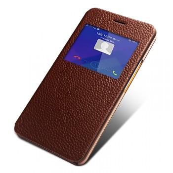 Кожаный чехол флип подставка на пластиковой основе с окном вызова для Huawei Honor 5X