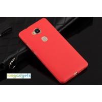 Силиконовый матовый непрозрачный нанотонкий 0.6 мм чехол для Huawei Honor 5X Красный
