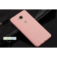 Силиконовый матовый непрозрачный нанотонкий 0.6 мм чехол для Huawei Honor 5X Розовый