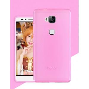 Силиконовый матовый полупрозрачный чехол для Huawei Honor 5X Розовый