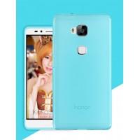 Силиконовый матовый полупрозрачный чехол для Huawei Honor 5X Голубой