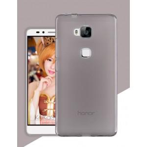 Силиконовый матовый полупрозрачный чехол для Huawei Honor 5X Черный