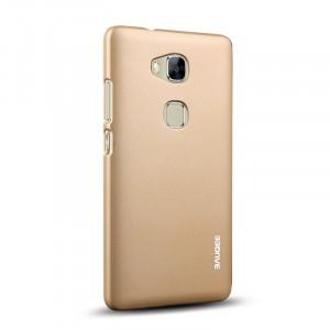 Пластиковый матовый непрозрачный Металлик чехол для Huawei Honor 5X Бежевый