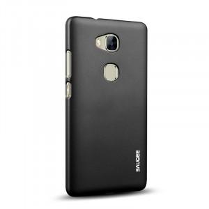 Пластиковый матовый непрозрачный Металлик чехол для Huawei Honor 5X Черный