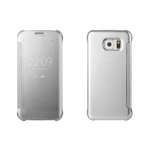 Двухмодульный пластиковый чехол флип с полупрозрачной акриловой крышкой с зеркальным покрытием для Samsung Galaxy S6 Edge Plus Белый