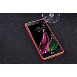 Пластиковый матовый нескользящий премиум чехол для LG Class Красный