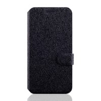 Текстурный чехол флип подставка на силиконовой основе с отделением для карт магнитной застёжкой для Microsoft Lumia 550 Черный