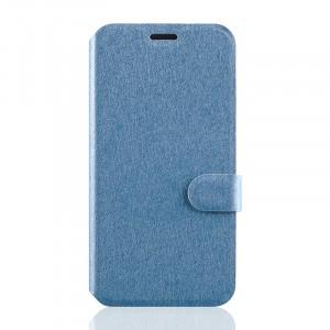 Текстурный чехол флип подставка на силиконовой основе с отделением для карт магнитной застёжкой для Microsoft Lumia 550 Голубой