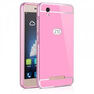 Двухкомпонентный чехол с металлическим бампером и поликарбонатной накладкой для ZTE Blade X3 Розовый