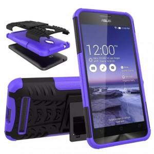 Антиударный гибридный силиконовый чехол с поликарбонатной крышкой и встроенной ножкой-подставкой для ASUS Zenfone Go Фиолетовый