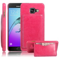 Дизайнерский чехол накладка с текстурным покрытием Кожа и отделением для карты/подставкой для Samsung Galaxy A3 (2016) Розовый
