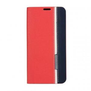 Чехол флип подставка на силиконовой основе с отделением для карты текстура Полосы для Samsung Galaxy A3 (2016) Красный