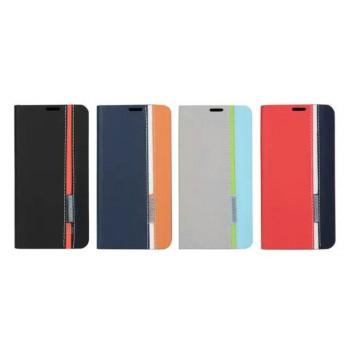 Чехол флип подставка на силиконовой основе с отделением для карты текстура Полосы для Samsung Galaxy A3 (2016)