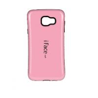 Силиконовый эргономичный непрозрачный чехол с нескользящими гранями для Samsung Galaxy A3 (2016) Розовый