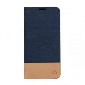 Дизайнерский чехол флип подставка на силиконовой основе с отделением для карты с тканевым покрытием для Samsung Galaxy A3 (2016) Синий
